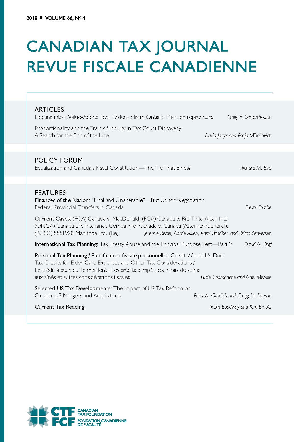 Canadian Tax Journal Volume 66, No. 4