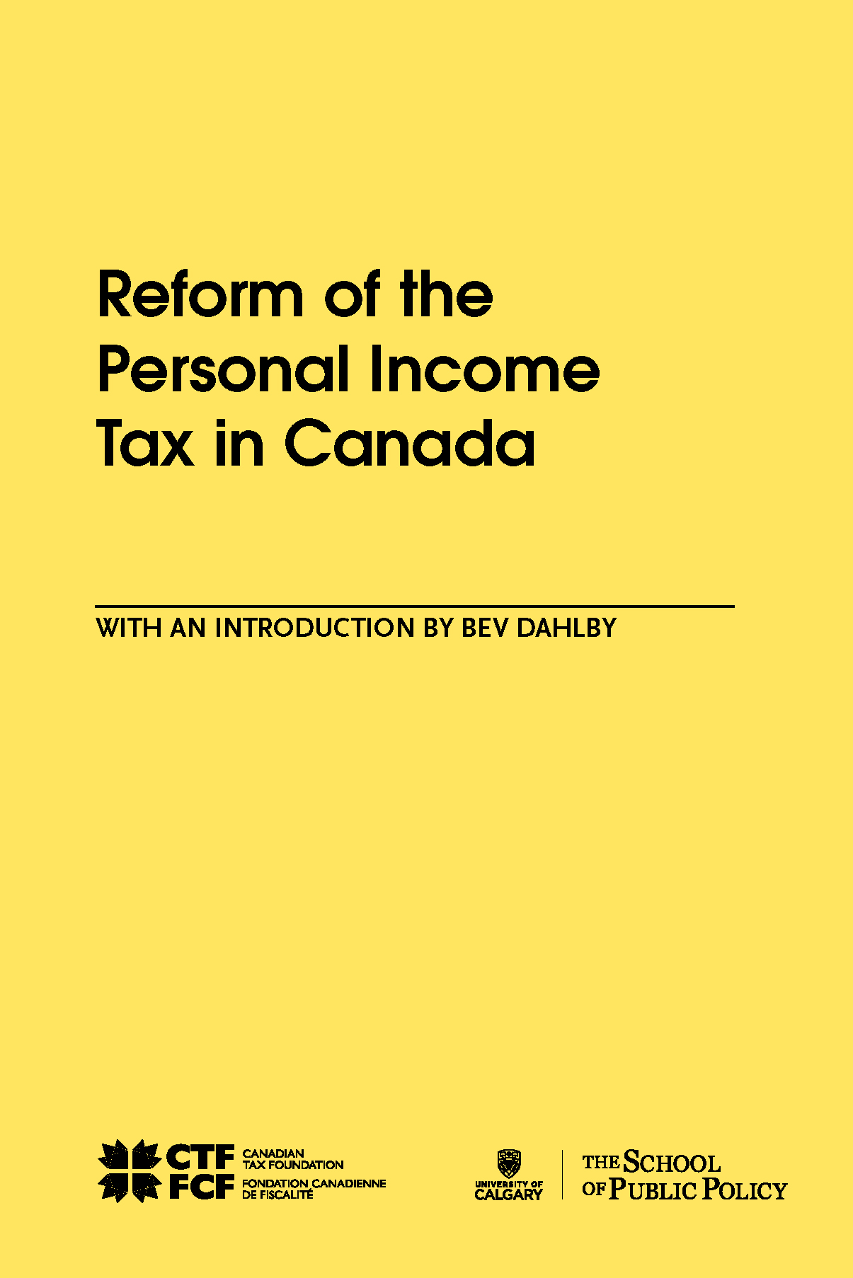 Reform of the Personal Income Tax in Canada